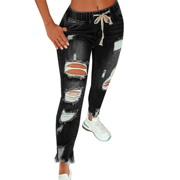 Boyfriend style ripped jeans cute distressed jeans casual jeans black XL