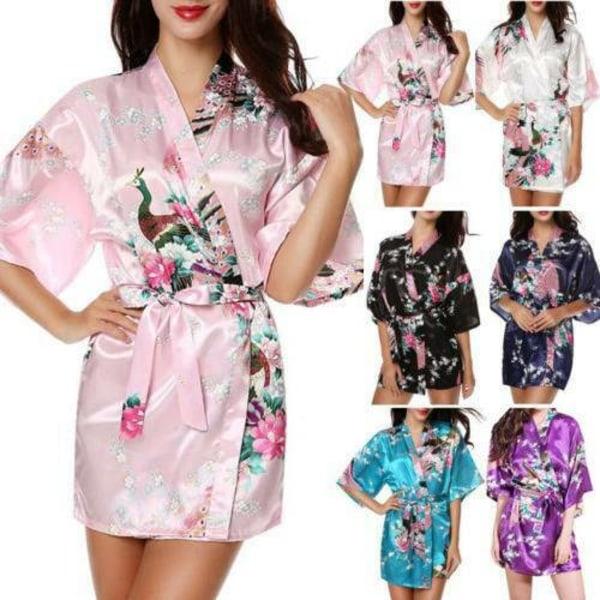 Kvinnors blommor silkesatin kimono klänning nattkläder nattkläder Purple XL