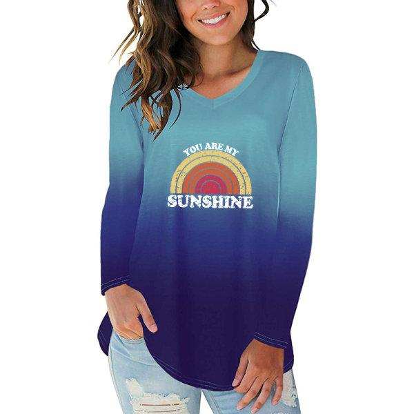 Kvinnors gradientfärg Rainbow T-shirt med tryck med V-ringning