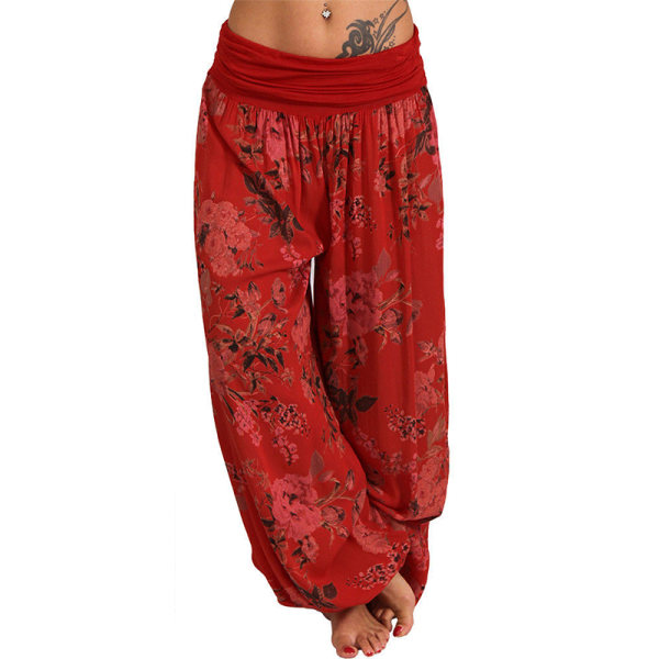 Harembyxor för kvinnor Boho Loose Lounge Yoga Pants Plus Joggers Red2 L