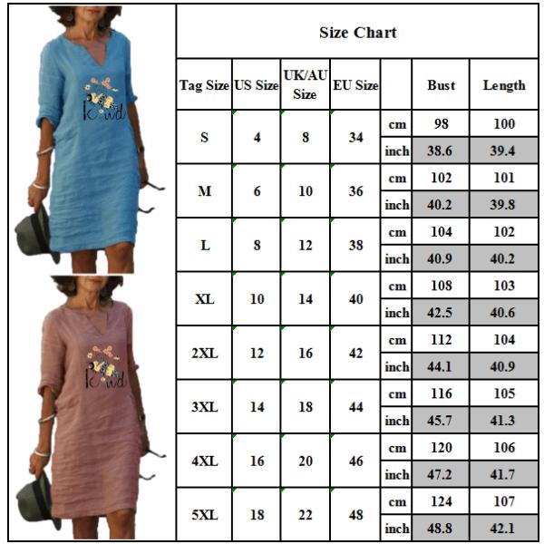 Kvinnors 3/4 ärm Bietryckt klänning Casual V-ringad löst