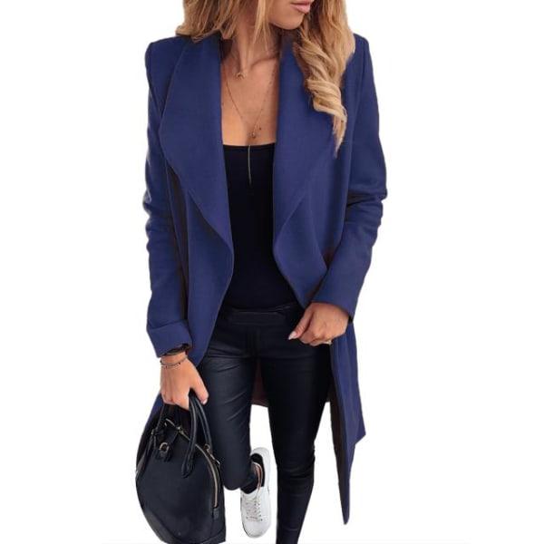 Kvinnors långärmad jacka Trench Winter Business Casual Navy Blue L