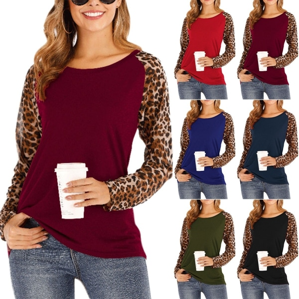 Dam Leopard Raglan Basic T-shirts Vinterblus för damer