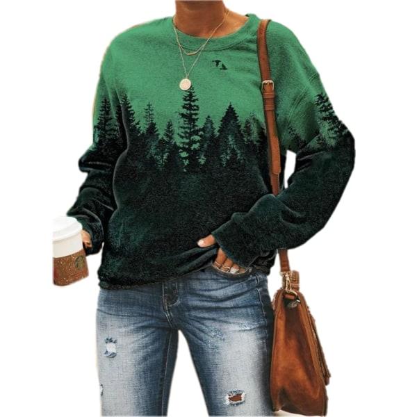 Kvinnors långärmad tröja med tröja med rund hals Långärmad tröja Green 5XL