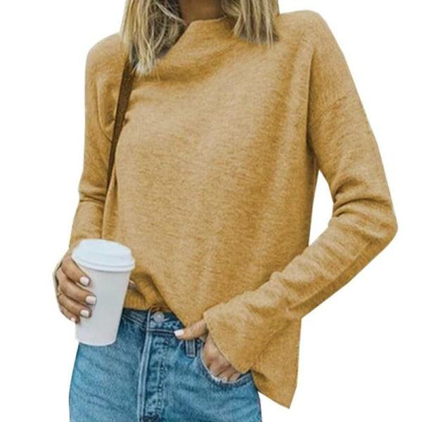 Kvinnors långärmad solid stickad tröja damavslappnad tröja Yellow XL