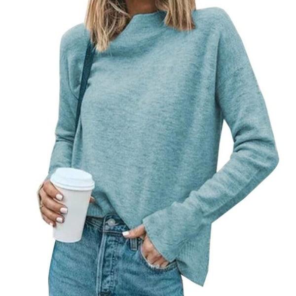 Kvinnors långärmad solid stickad tröja damavslappnad tröja Blue L