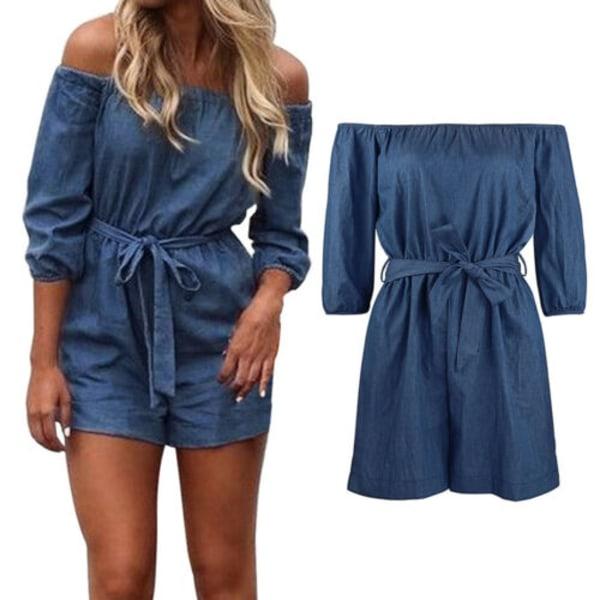 Kvinnors Off Shoulder Mini Playsuit Shorts Denim Wrap Jumpsuit Blue Denim 2XL