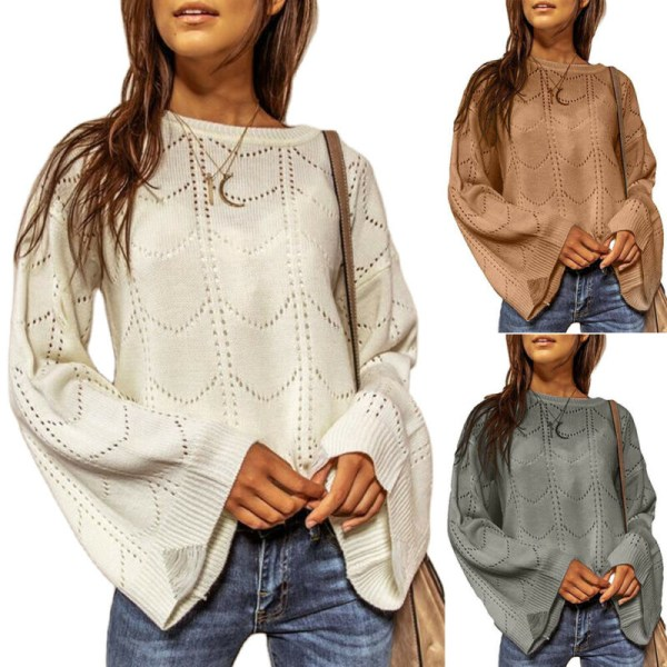 Kvinnors Plain Casual Stickad tröja damtröja höst Khaki L