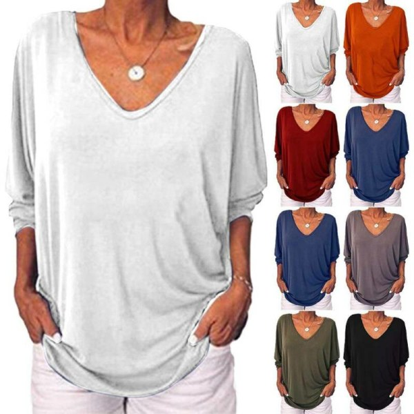 Kvinnors Plain V-hals Baggy T-shirt Långärmad höst Plus Size White XL