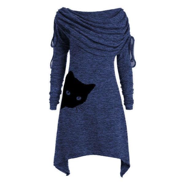 Kvinnors tryckta tröja dragsko Långärmad Midi Casual klänningar Navy Blue XL