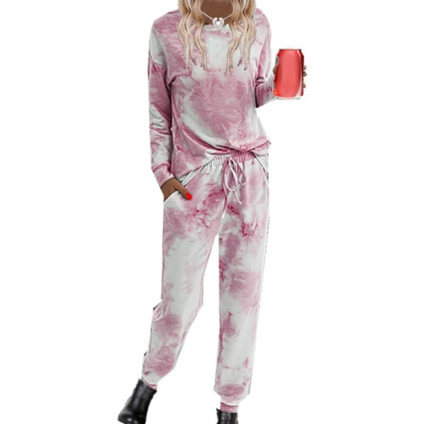Kvinnors Set Långärmade Toppar Sport Nattkläder Loungewear Pyjamas Pink S