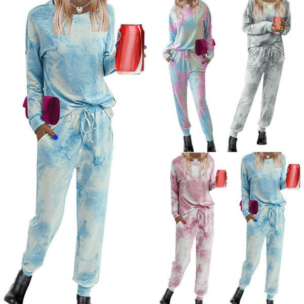 Kvinnors Set Långärmade Toppar Sport Nattkläder Loungewear Pyjamas Blue 2XL