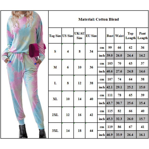Kvinnors Set Långärmade Toppar Sport Nattkläder Loungewear Pyjamas Pink 3XL