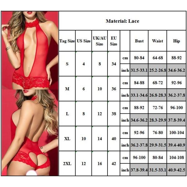 Kvinnors Sexiga Deep V Erotiska Spets Nightwear Underkläder Set red M