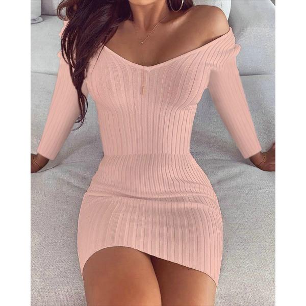 Kvinnors sexiga långärmade enfärgad V-ringad mini-klänning