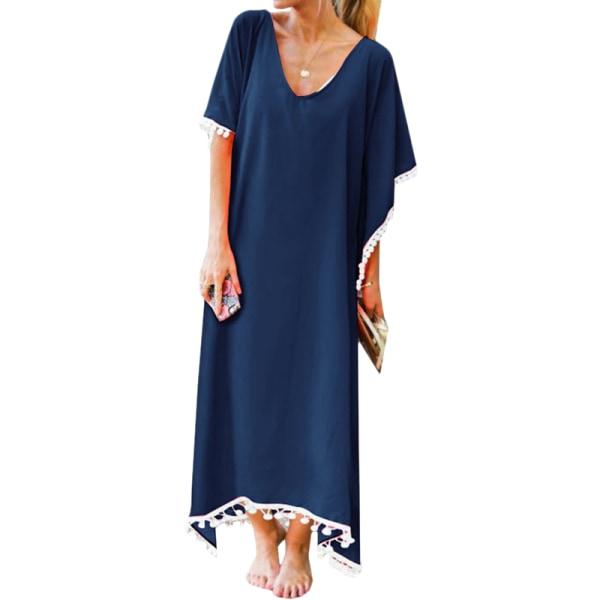 Kvinnors kortärmade långa kaftanklänning damer sommarstrandlös Blue L