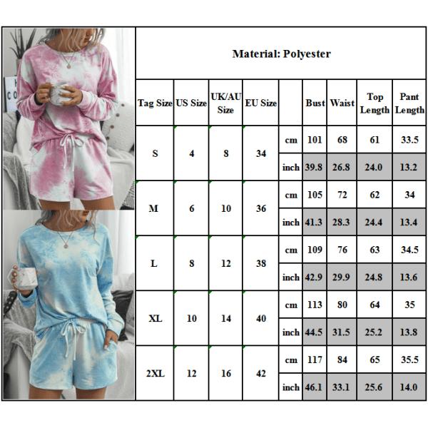 Kvinnors Tie Dye långärmad nattklädeset T-shirt toppshorts Pink Blue M