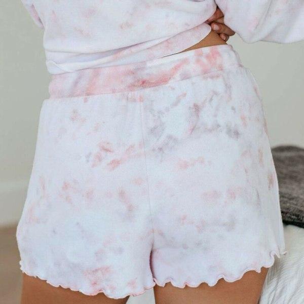 Kvinnors Tie Dye-tryckta långärmade shorts Lösa träningsdräktset Pink M