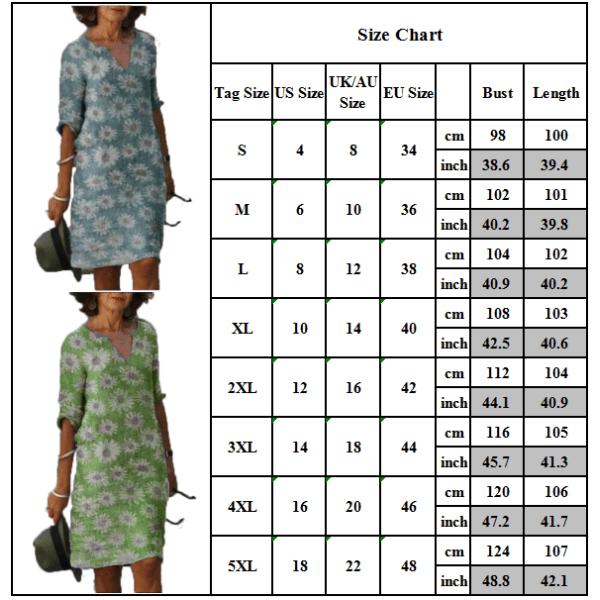 Kvinnors v-hals Boho blommig baggy knäklänning dam tunika lång topp