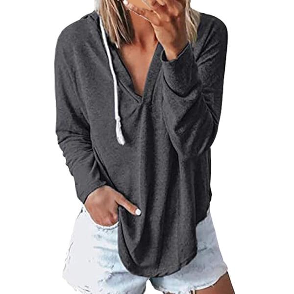 Kvinnors V-ringning Plain Sweatshirt Oregelbundna Hoodies Jogging Gym Top Grey XL
