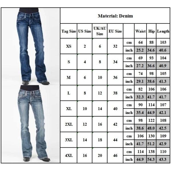 Kvinnors Vintage Jeansbyxor High Denim