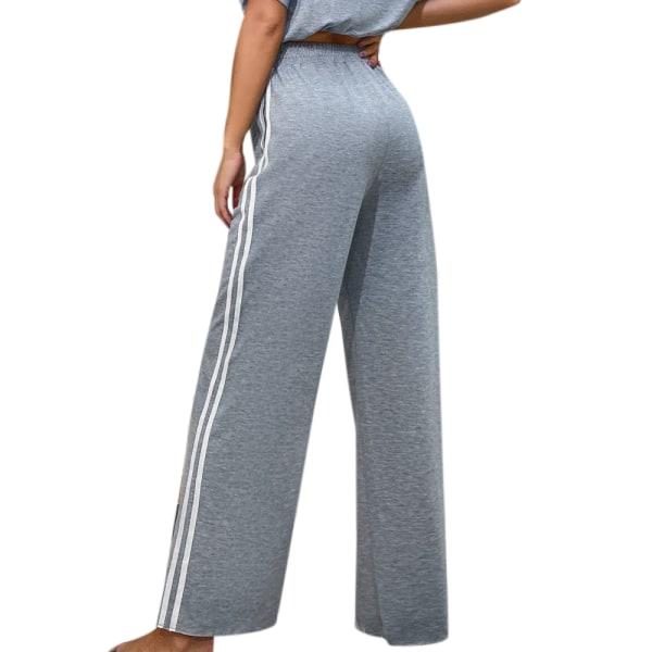 Kvinnors vida ben med hög midja, smala byxor, byxor, sport Grey XL