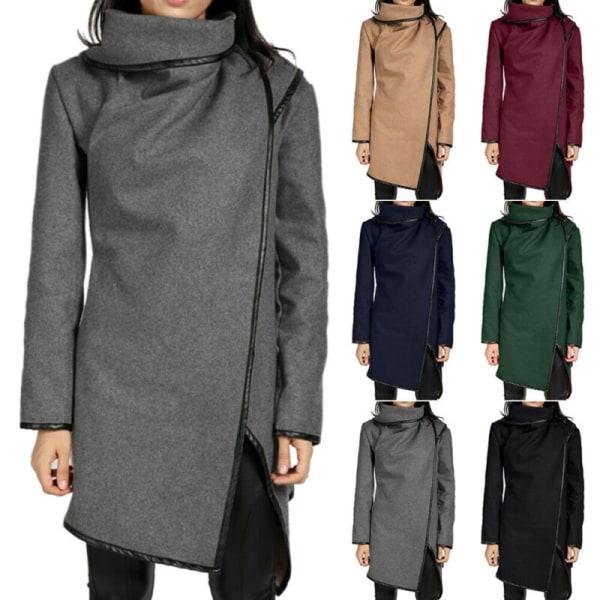 Kvinnors vinterjacka med hög halsjacka för damer avslappnad kappa Black 2XL