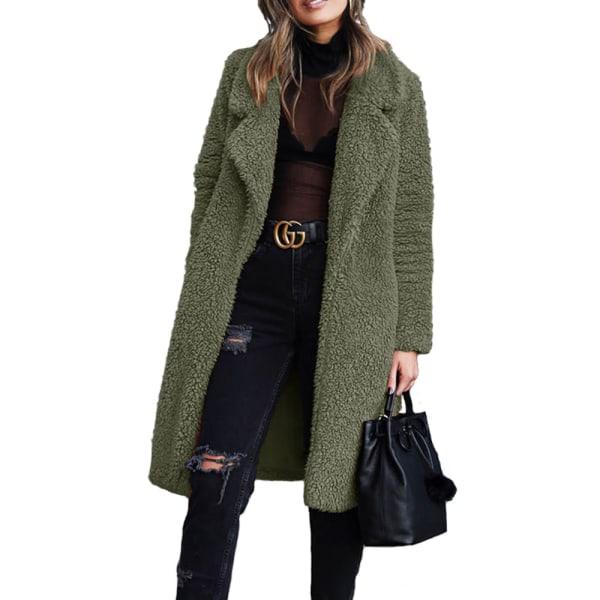 Kvinnors vinter varma fluffiga långa jacka Vanlig rock Fritidskläder