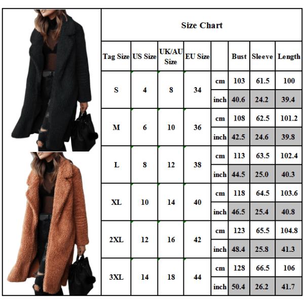 Kvinnors vinter varma fluffiga långa jacka Vanlig rock Fritidskläder Dark Grey 3XL