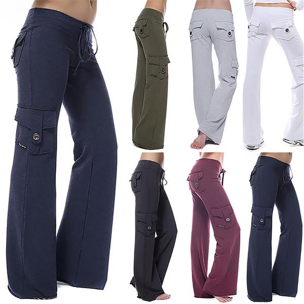 Women's High Waist Waist Button Pocket Yoga Pants Sweatpants white L
