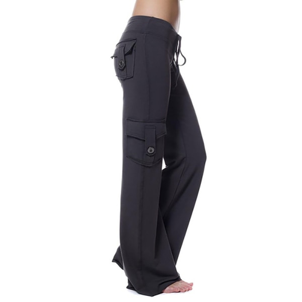 Women's High Waist Waist Button Pocket Yoga Pants Sweatpants black 4XL