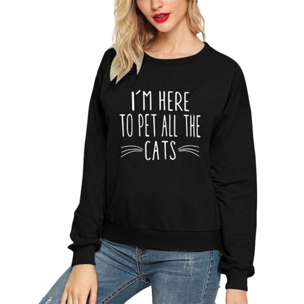 Ung stil kvinnlig söt husdjur katt brev black L