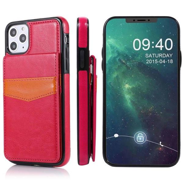 iPhone 12 Pro - Effektfullt LEMAN Skal med Korthållare Rosaröd