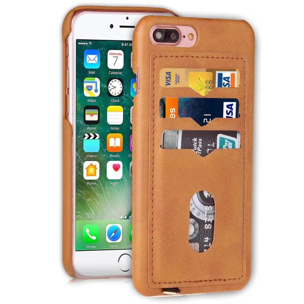 Skal med Korthållare för iPhone 7 Plus (Vintage-Mark) Ljusbrun