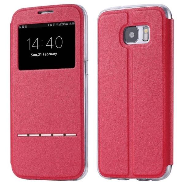 Samsung S8 Smartfodral med fönster och svarsfunktion Röd