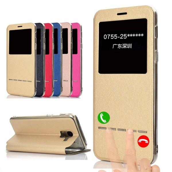 Smartfodral med Fönster & Svarsfunktion till Samsung Galaxy J6 Röd