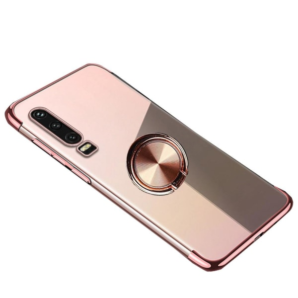 Huawei P30 - Skyddande Silikonskal med Ringhållare Roséguld