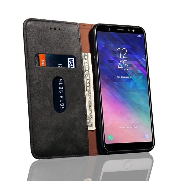 LEMAN Stilrent Plånboksfodral för Samsung Galaxy A6 Plus Ljusbrun