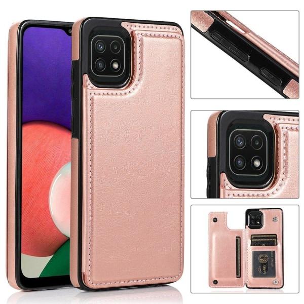 Samsung Galaxy A22 5G - Skal med Korthållare Röd