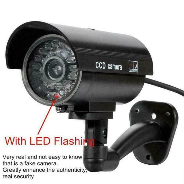 1 * Säkerhetskamera Fake LEDs Blinkande ljus Hemövervakning A black