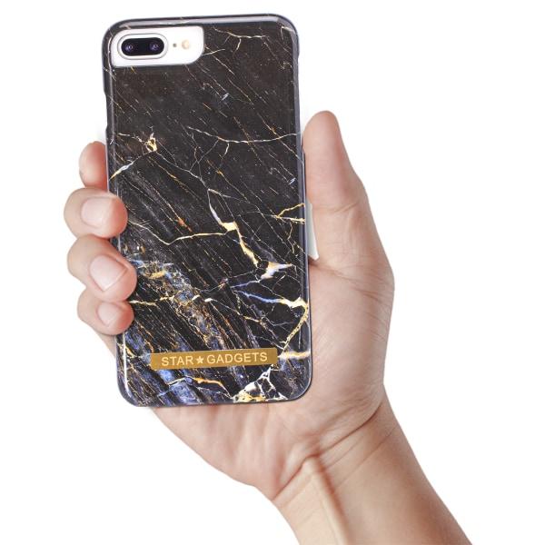 iPhone 7 Plus / 8 Plus - Skal / Skydd / Blommor / Marmor Svart