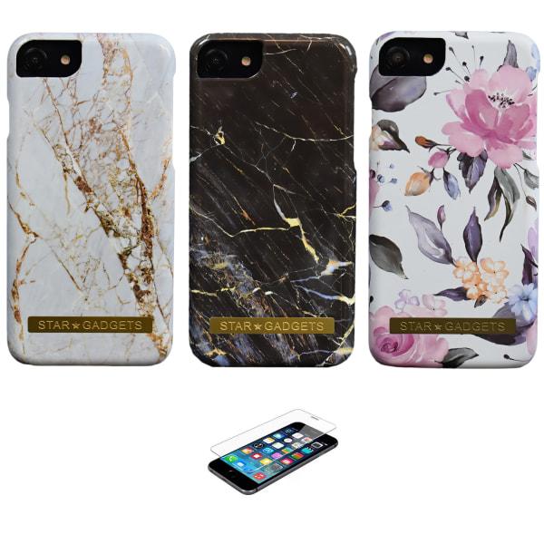 iPhone 7 / 8 - Skal / Skydd / Blommor / Marmor Vit