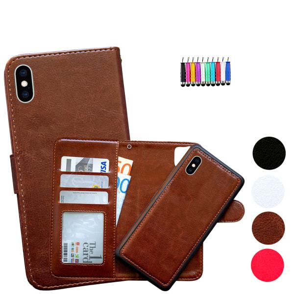 iPhone X/Xs - Plånboksfodral / Magnet Skal + Touchpenna Vit