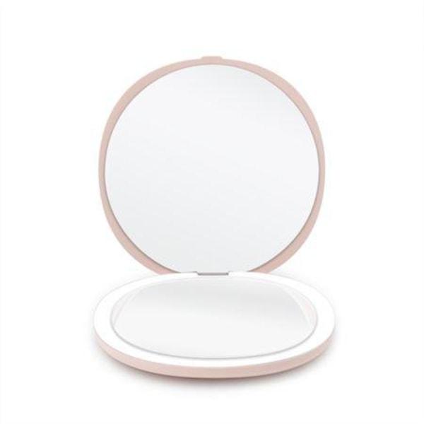 Kompakt Dubbelsidig Sminkspegel med LED (5x förstoring) - Rosa