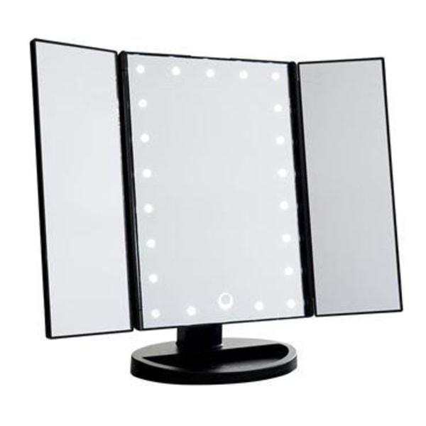 UNIQ Hollywood Makeup Spegel Trifold spegel med LED ljus, Svart Svart