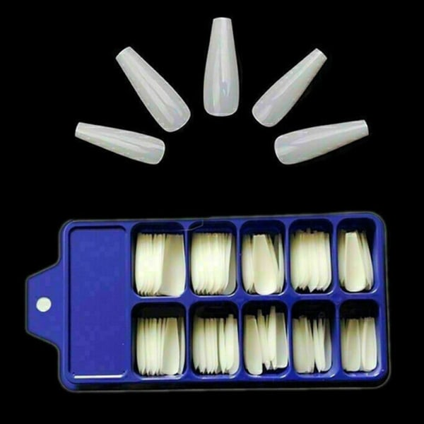 Långa Falska Naglar Akryl Konstgjorda Nagelkonst Tips Stick White
