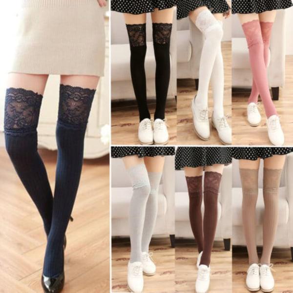 Höst Vinter 1Pair of Women Tights Trim Stickad High Socks # 5-Navy blue