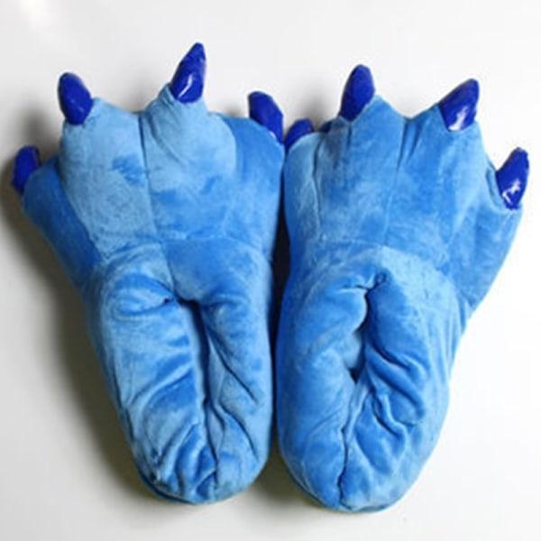 Vuxna djur djur monster fötter tofflor plysch skor blå M(Adult)