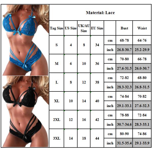 Kvinnors sexiga underkläder BH-underkläder sätter strumpbyxor Blue L