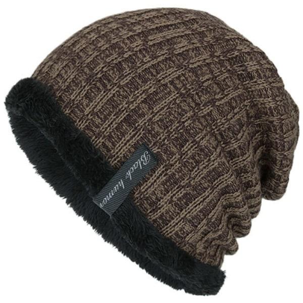 Kvinnor Män varmare vinterstickad slouch mössa Fleece mössor Black